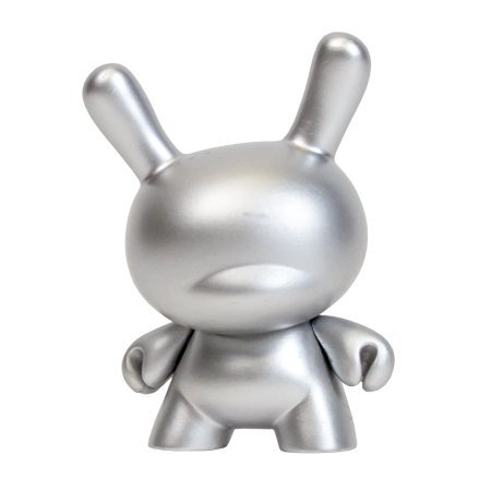 10th Anniversary Dunny - Silver figure, produced by Kidrobot. Front view.
