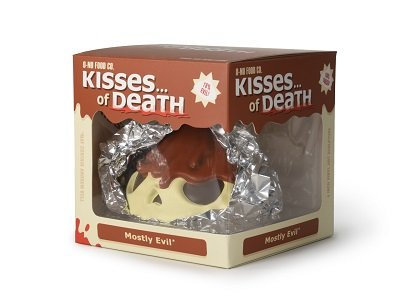 "4"" Skull Kisses of Death : Mostly Evil -standard edition figure by Andrew Bell, produced by O-No Food Company. Packaging."