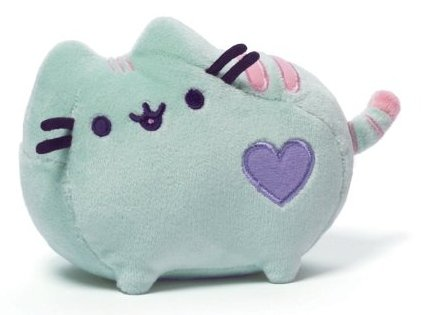 6 Pastel Pusheen (Green with Purple Heart) figure by Pusheen, produced by Gund. Front view.
