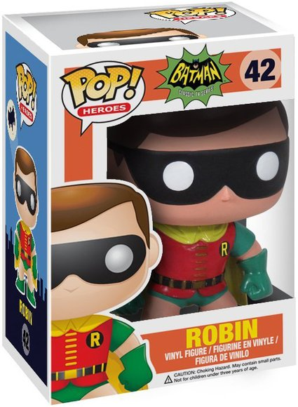 POP! Heroes - Robin 1966 figure by Dc Comics, produced by Funko. Packaging.