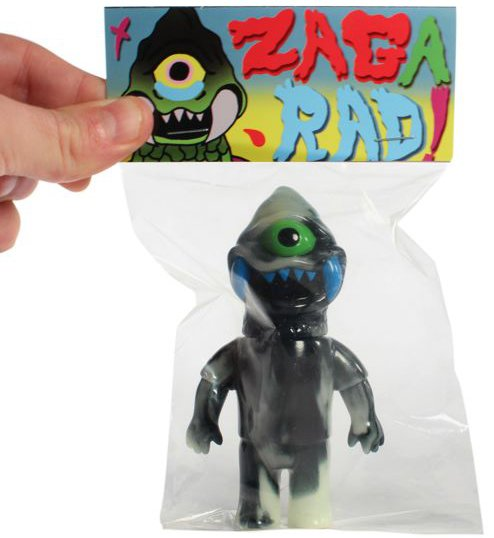 Double Trouble Zagarad figure by Gargamel X Le Merde, produced by Super7. Packaging.