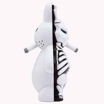 Skeleton Labbit - Frightmare Ed. figure by Frank Kozik, produced by Kidrobot. Side view.