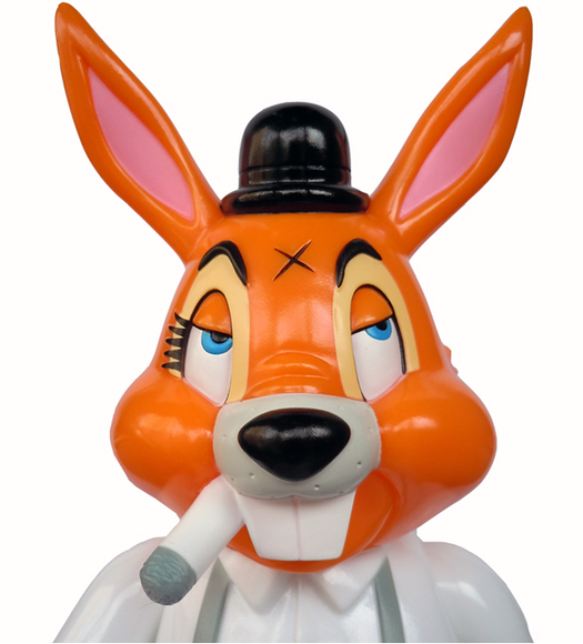 A Clockwork Carrot figure by Frank Kozik, produced by Blackbook Toy. Detail view.