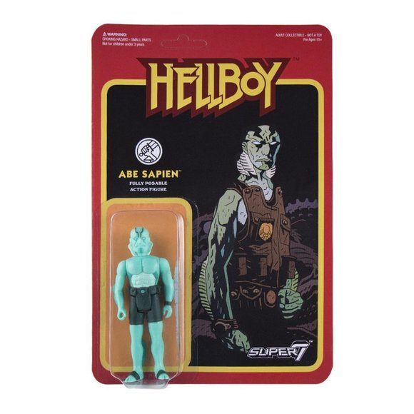 Abe Sapien figure by Super7, produced by Funko. Packaging.
