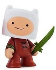 Adventure Time 3 Mini Series - Finn with Grass Sword figure, produced by Kidrobot. Front view.