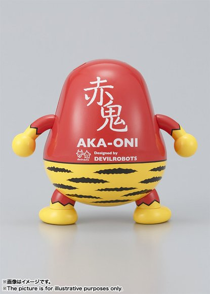 Aka-Oni Daruma figure by Devilrobots, produced by Tamashii Nations, Bandai. Back view.