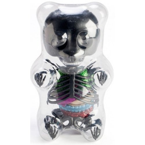 Anatomical Gummi Bear 3D Puzzle - Black figure by Jason Freeny, produced by Famemaster. Front view.