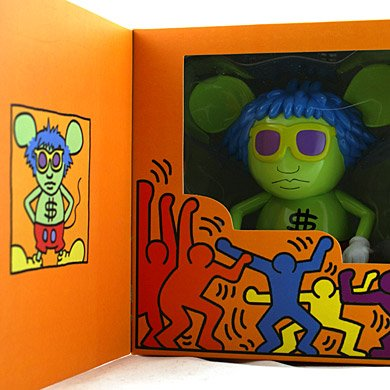 Andy Mouse Original figure by Keith Haring, produced by 360 Toy Group. Packaging.