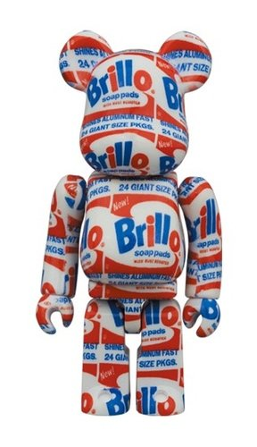 ANDY WARHOL Brillo BE@RBRICK 100% figure, produced by Medicom Toy. Front view.