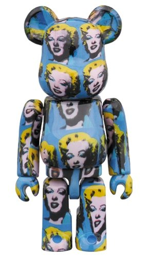 Andy Warhol's Marilyn Monroe BE@RBRICK 100% figure, produced by Medicom Toy. Front view.