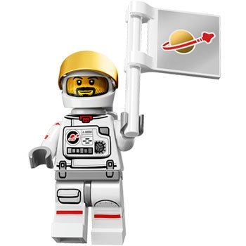 Astronaut figure by Lego, produced by Lego. Front view.