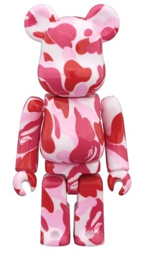 BAPE-ABC Pink BE@RBRICK 100% figure, produced by Medicom Toy. Front view.