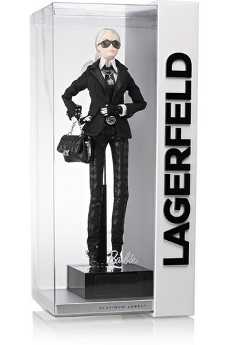 Barbie Lagerfeld figure by Karl Lagerfield, produced by Mattel. Front view.