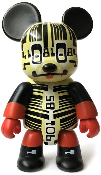 Barcode Bear figure by Charles Anderson, produced by Toy2R. Front view.