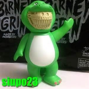 Barney rex grin figure by Ron English. Front view.