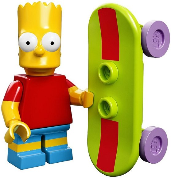 Bart Simpson figure by Matt Groening, produced by Lego. Front view.