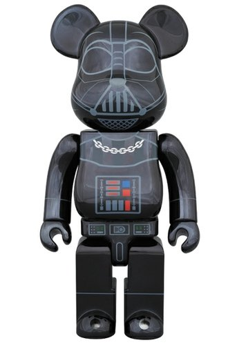 BE@RBRICK DARTH VADER(TM) CHROME Ver.400% figure by Lucasfilm Ltd., produced by Medicom Toy. Front view.