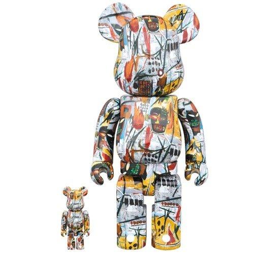 Be@rbrick Jean-Michel Basquiat 400% & 100% figure by Jean-Michel Basquiat, produced by Medicom Toy. Front view.
