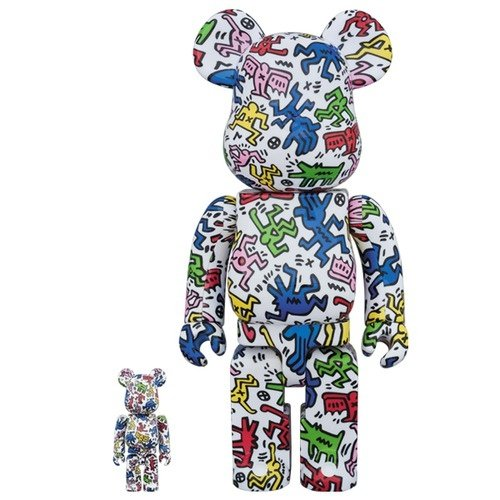 Be@rbrick Keith Haring 400% & 100% figure by Keith Haring, produced by Medicom Toy. Front view.
