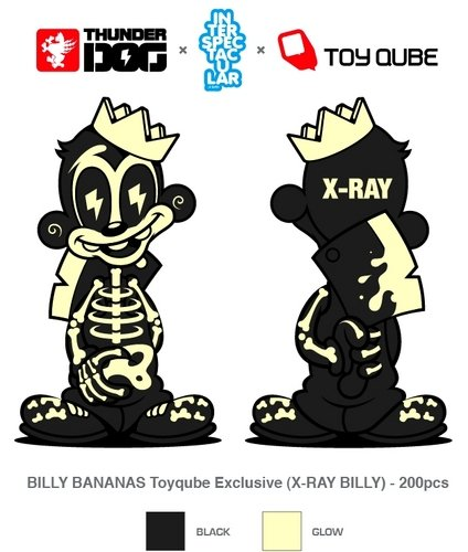 Billy Bananas X-Ray Edition figure by Tristan Eaton, produced by Thunderdog Studios. Detail view.