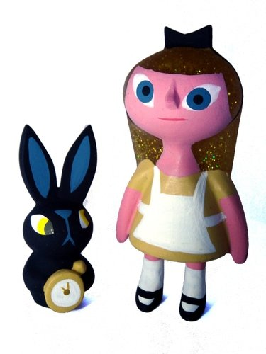 Black Rabbit Alice figure by Amanda Visell. Front view.