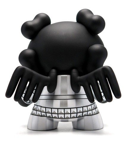 "Black Skullhead 8"" Dunny figure by Huck Gee, produced by Kidrobot. Back view."