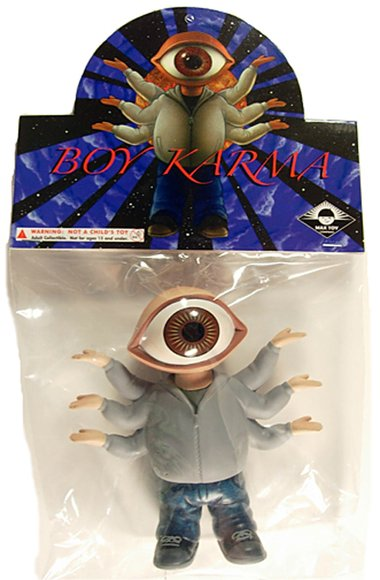 Boy Karma figure by Mark Nagata, produced by Max Toy Co.. Packaging.