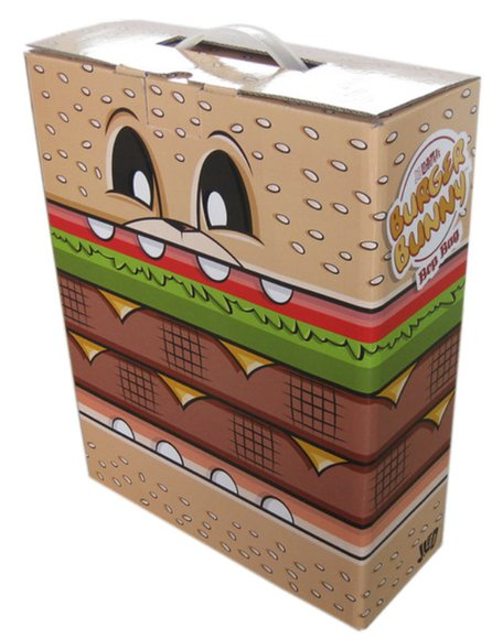 Burger Bunny Bop Bag figure by Joe Ledbetter, produced by The Loyal Subjects. Packaging.