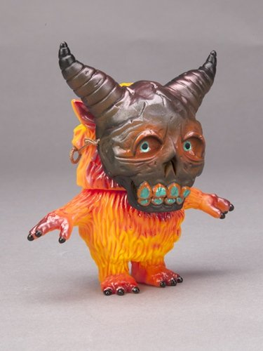 Burnt Pumpkin Masked Diggler figure by Toby Dutkiewicz, produced by Splurrt And Devils Head Productions. Front view.
