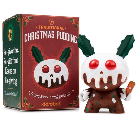 Christmas Pudding figure by Kronk, produced by Kidrobot. Packaging.
