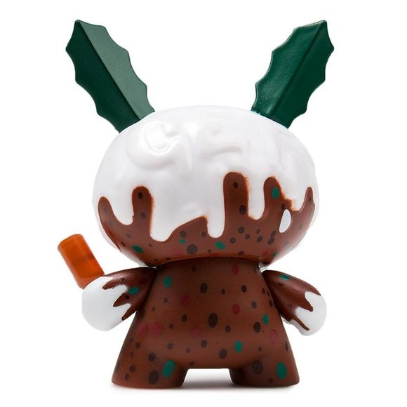 Christmas Pudding figure by Kronk, produced by Kidrobot. Back view.