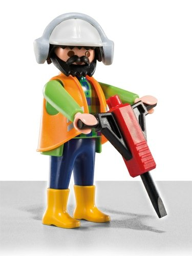 Construction Worker Figure By Playmobil Produced Front View