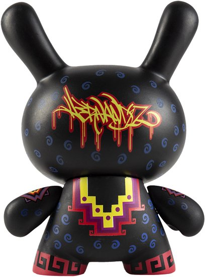 Cosmic Jaguar 5 Dunny figure by Jesse Hernandez, produced by Kidrobot. Back view.