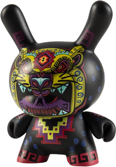 Cosmic Jaguar 5 Dunny figure by Jesse Hernandez, produced by Kidrobot. Front view.