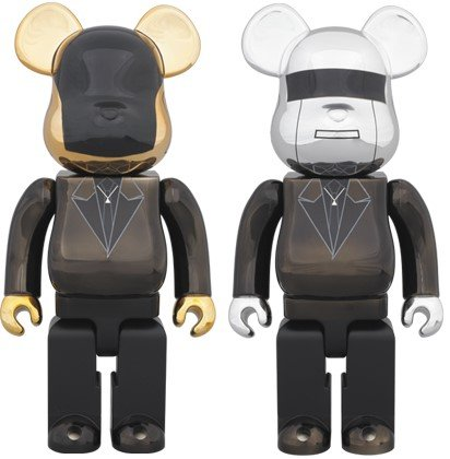 Daft Punk Be@rbrick 400% (Random Access Memories Ver.) - Thomas Bangaltier figure, produced by Medicom Toy. Front view.