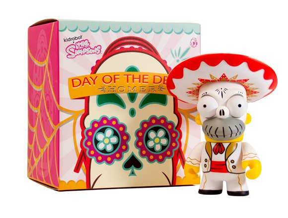 Day of the Dead Mariachi Homer figure, produced by Kidrobot. Packaging.
