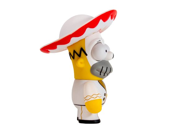 Day of the Dead Mariachi Homer figure, produced by Kidrobot. Side view.