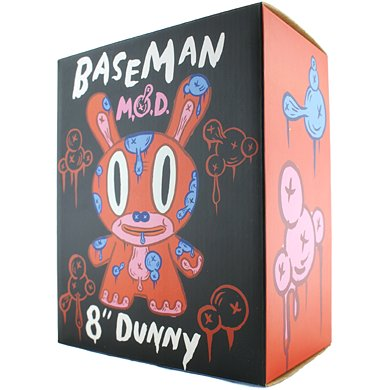 RED MOD figure by Gary Baseman, produced by Kidrobot. Packaging.