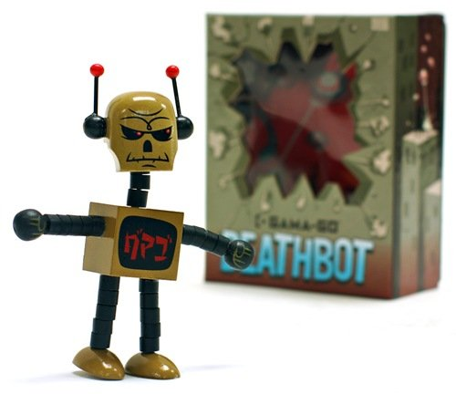 Gama-Go Deathbot - SDCC Gama-Gold figure by Tim Biskup, produced by Ningyoushi. Packaging.