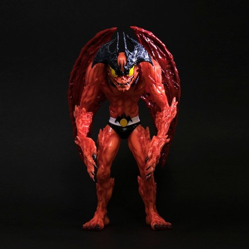 Devilman (Red G.I.D. Version) figure by Mike Sutfin, produced by Unbox Industries. Front view.
