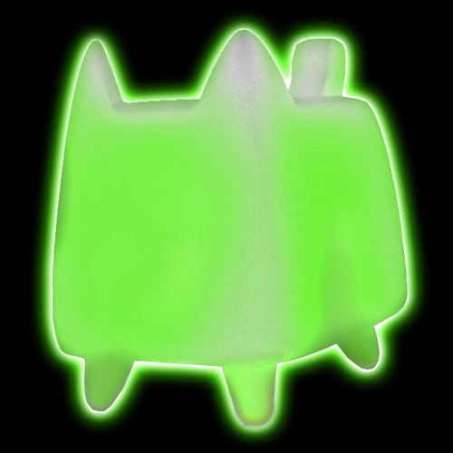 DIY BOXCAT GLOW figure by Rato Kim, produced by Discordia Merchandising. Front view.