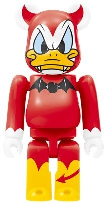 Donald Duck Be@rbrick 100% - Devil Ver. figure by Disney, produced by Medicom Toy. Front view.
