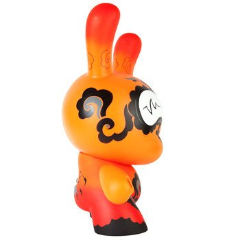 Dunny 20 Orange Drop figure by Andrew Bell, produced by Kidrobot. Side view.