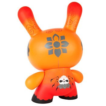 Dunny 20 Orange Drop figure by Andrew Bell, produced by Kidrobot. Back view.