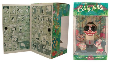 Eddy Table figure by Dave Cooper, produced by Critterbox. Packaging.