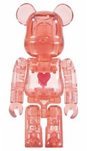 Emotionally Unavailable RED (Red Heart) BE@RBRICK 100% figure, produced by Medicom Toy. Front view.