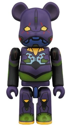 EVANGELION First Unit Night Battle Ver. (GID) BE@RBRICK 100% figure, produced by Medicom Toy. Front view.
