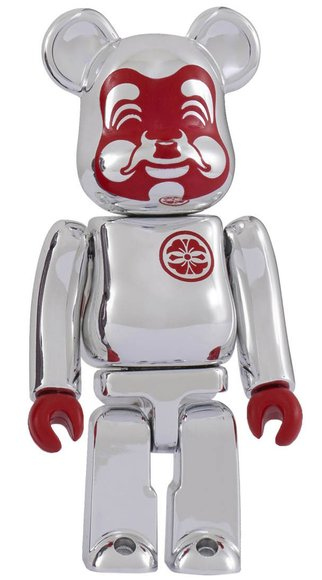 EVISU Silver-plated BE@RBRICK 100% figure, produced by Medicom Toy. Front view.