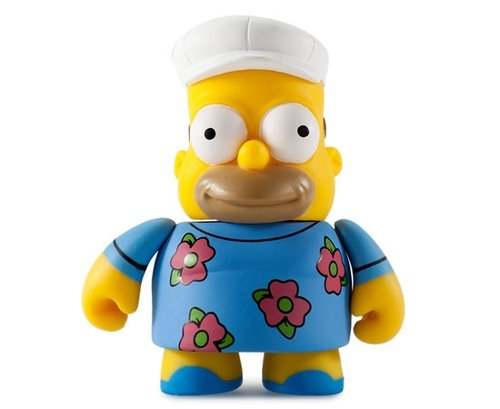 Fat Hat Homer figure by Matt Groening, produced by Kidrobot. Front view.