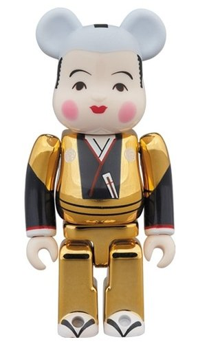 Fukuske gold BE@RBRICK 100% figure, produced by Medicom Toy. Front view.
